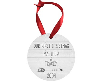 Our first Christmas.Newly wed gift.Wedding gift.Christmas Gift.Personalized gift.Gift idea.Cusstom christmas ornament.ornament.