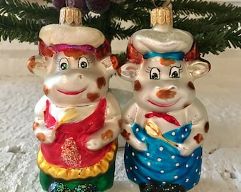 Christopher Radko set of (2) Mr. & Mrs. Cow Chef ornaments retired in 1997