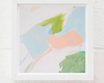 Spring pink blue green Abstract  art painting print