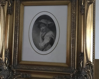 Beautifully Ornate Framed Antique Engraving 'Audrey - As You Like It' 1846