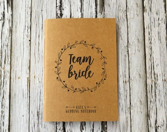 Team Bride Wedding Journal, Personalised Wedding Planner, Bride to be or Bridesmaid Notebook, Wedding and Engagement Gift