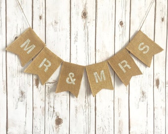 Burlap Mr and Mrs Banner / Mr & Mrs Sign / Wedding Head Table / Sweetheart Table / Rustic Wedding /