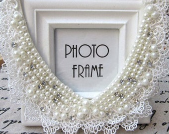 Vintage clothing  Pearl Beaded Lace Collar Necklace crystal jewelry new rhinestone fashion collar choker. #1