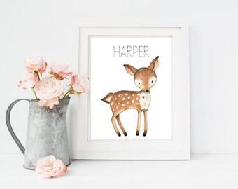 Woodland Nursery Decor, Personalised Name Print, Woodland Baby Shower Decor, Fawn Nursery Art, Personalised Nursery Art, Deer Nursery Art