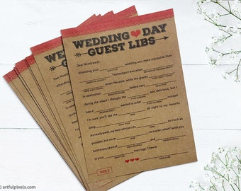 PRINTED Guest Libs Wedding Game Fun Guestbook Alternative Rustic Unique Funny Word