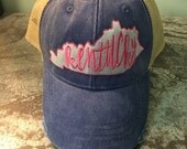Kentucky in Pink Distressed Ball Cap, Monogrammed
