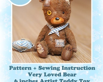 PATTERN + BONUS Sewing Instruction - Instant Download PDF Pattern Very Loved Bear artist teddy toy 6 inches