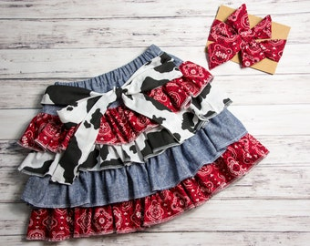 Ruffle cowgirl skirt, bandana skirt, cow print skirt, denim cowgirl skirt, country outfit, cowgirl outfit, cowgirl birthday skirt