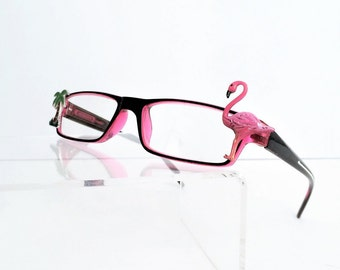 Pink Flamingo reading glasses +2.25, Readers Flamingo, Pink and black Women Readers, Painted Reading Glasses