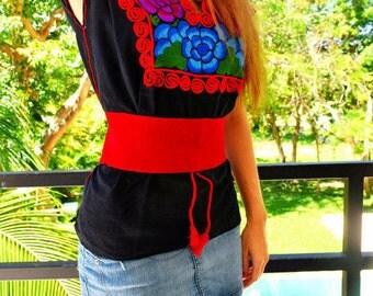 Red Mexican Belt / Boho Chic Belt / Folk Fabric