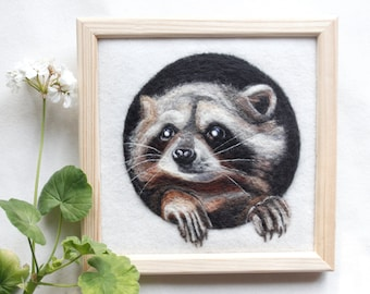 Needle felted wool Painting, Fiber Raccoon wall art, Needle felted animal, Felting animal, Unusual birthday gift, Housewarming gift