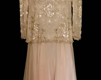 Soft Pink Silk Chiffon and Pearl Beaded Gown                   VG297