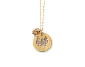 Tree Necklace, Nature Jewelry,Pinecone Necklace,Nature Lover Gift,Pine Tree Necklace,Outdoorsy Gifts,Outdoorsman Gift,Adventure Jewelry