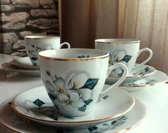 Bohemia Porcelain Cup, Saucer & Side Plate, Made in Czechoslovakia