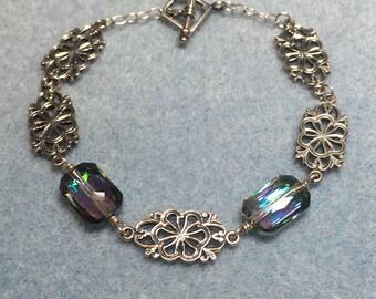 Swarovski Crystal and Sterling Silver Filigree Bracelet