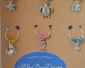 Wine charms - Drink charms - Sea creature wine charms - Wine accessories - Party charms - Ocean life charms - Party wine charms