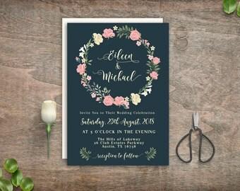 Printable Wedding, DIY Wedding, Wedding Invitation, Wedding Printable, Printable Wedding Invitation, Floral Wedding, Wedding Invitation Set