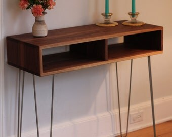 Mid Century Modern Sideboard / Console Table with Stainless Hairpin Legs in Black Walnut