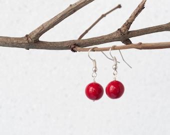 Red ball earrings, Ruby red earrings, Everyday earrings, Simple earrings, Love earrings, Small red earrings, Red earrings dangle