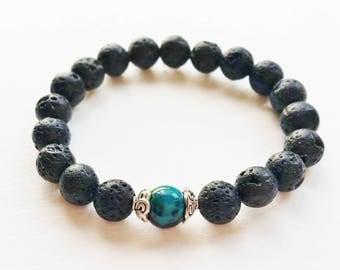 Volcanic Lava Stone and Chrysocolla Bracelet - volcanic lava bead bracelet, chrysocolla jewellery, crystal bracelet, mens bracelet, gemstone