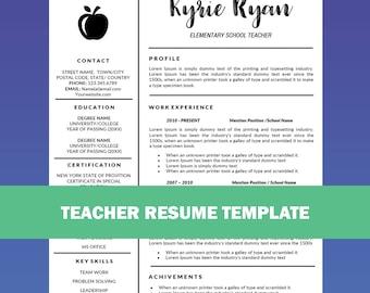Teacher Resume Template Word / Cover Letter Template, Teaching Resume,  Educator Resume, Education  Education Resume Template Word