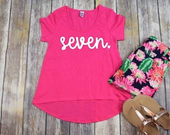 Birthday Shirt 7, Girls Seven Shirt, Girls Birthday Shirt, 7 Shirt, Seven Shirt, Seven Birthday Shirt, 7 Year Old Birthday Shirt, Shirt ONLY