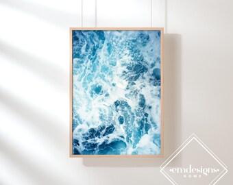 Ocean Waves Print-Large Poster-Beach Decor-Modern Coastal Decor-Poster printable-Blue wall art decor-Ocean poster-Printable Ocean-Ocean Art