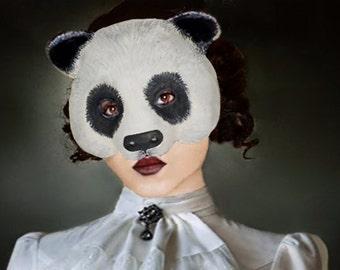 Made To Order Panda Mask   Animal mask Masquerade Panda mask Face mask Paper mache Panda  mask Papier mache Panda mask costume