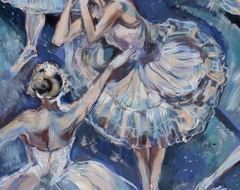 Odette the White Swan Original Arcylic Painting Prince Siegfried Odile Black Swan Von Rothbart Ballet Dancers Rehersal Fairytale Princesses