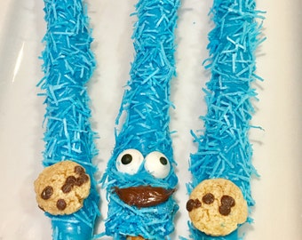 Individually Wrapped, Cookie, Monster, Blue, Chocolate Covered Pretzel Rods