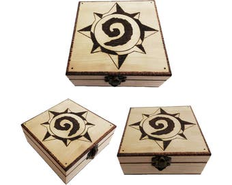 HearthStone Video game Wooden Box Pyrography, Gamer, Videogames