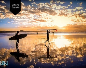 Byron Bay Surf Photography, Australia Sunset Surf - Going for a surf in Byron Bay