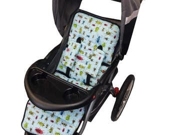 Bugs Stroller Liner-Reversible to Bright Blue Minky