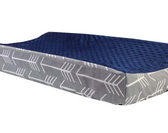 Gray Arrow - Navy Minky Changing Table Cover