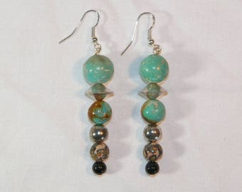 Sterling Silver Turquoise Earrings, 925 Hand Made Jasper And Turquoise Earrings,Natural Earthly Made Stone Earrings,Unique Sterling Earrings