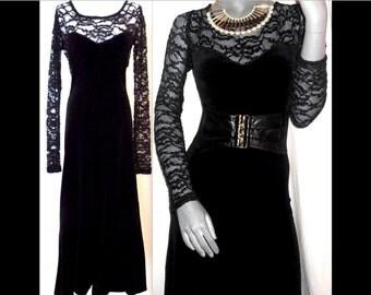 Betsey Johnson Luxe Black Velvet/Lace Flute Hem Long Sleeve dress M/L
