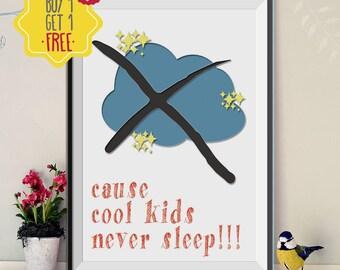 Cool posters, nursery quotes, kids art prints, Cloud painting, kids wall decor, Printable art, Colorful wall art, nursery art printable