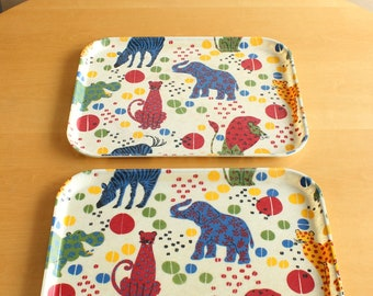 Vintage Fiberglass Zoo Animal Trays, SiLite Plastic, Kitchen, Cafeteria Trays, 60s Illustrations, Primary Colours