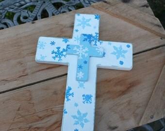 White cross, Wooden Cross, Snowflakes, Winter Cross, Snowflake Cross, Wood Cross, Winter decor, Snowflake decor, Blue cross, Snow, Handmade