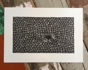 La Course // Original linocut print