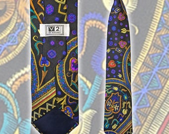 Vintage V2 By VERSACE Colorful Silk Fancy Floral Necktie
