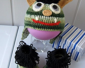 Booties and hats, children's hats, knitted Bootees, knitted hat, booties baby, Hat baby, green, baby gift, ready to ship
