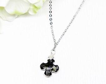 Swarovski crystal Greek cross pendant with 42cm chain necklace. Crystal necklace. Swarovski necklace. Genuine Swarovski elements