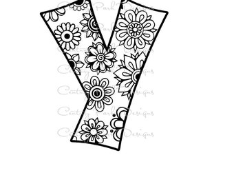 Letter Y Alphabet Flowers SVG / JPEG / PNG /pdf / use with Silhouette Studio and Cricut Design Space - Commercial Use - Adult Coloring Page