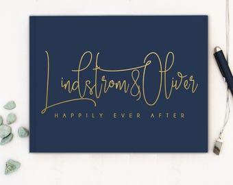 Real Gold Foil Wedding Guest Book landscape horizontal Gold foil Guest Books Custom Guestbook Modern Wedding Script Wedding - navy
