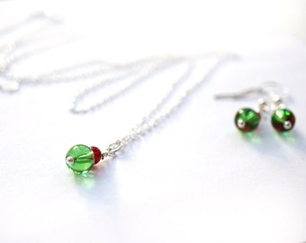 Christmas Gift For Her Stocking Stuffer Mom Teen Girl Women Dainty Wire Wrapped Sterling Silver Pendant Red Green Glass Tiny Charm Necklace