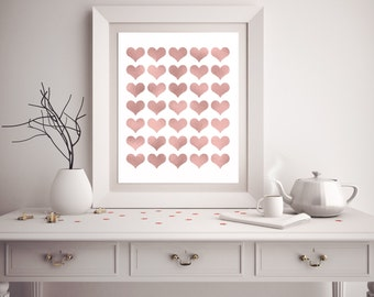 Heart Print, Rose Gold Heart Print, Rose Gold Wall Art, Valentine's Day Gift, Baby Shower Gift, Love Print, Love Wall Art, Printable Art