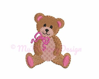 Bear Embroidery Design - Mini Fill Stitch Embroidery - Baby Girl Embroidery - Newborn design - Machine embroidery Instant Download - 5 SIZE