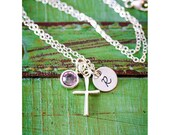 SALE • Sterling Silver Cross Necklace • Easter Gift • Girl Baptism Gift • Easter Necklace • Communion Gift • Charm Necklace•Initial Necklace