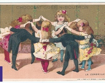 Lovely trade card rare & authentic 1900s advertising ephemera chocolate dance edwardian girl fashion hairdressing Victorian Vintage